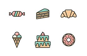 15枚蛋糕甜点图标,AI源文件