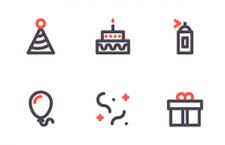 6枚生日派对图标,AI源文件