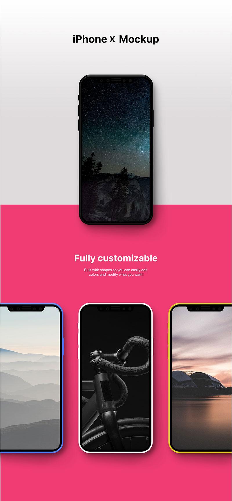 iphone X 手机模版,PSD源文件