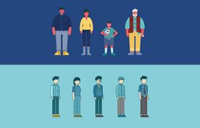 扁平化社交人物角色,AI源文件