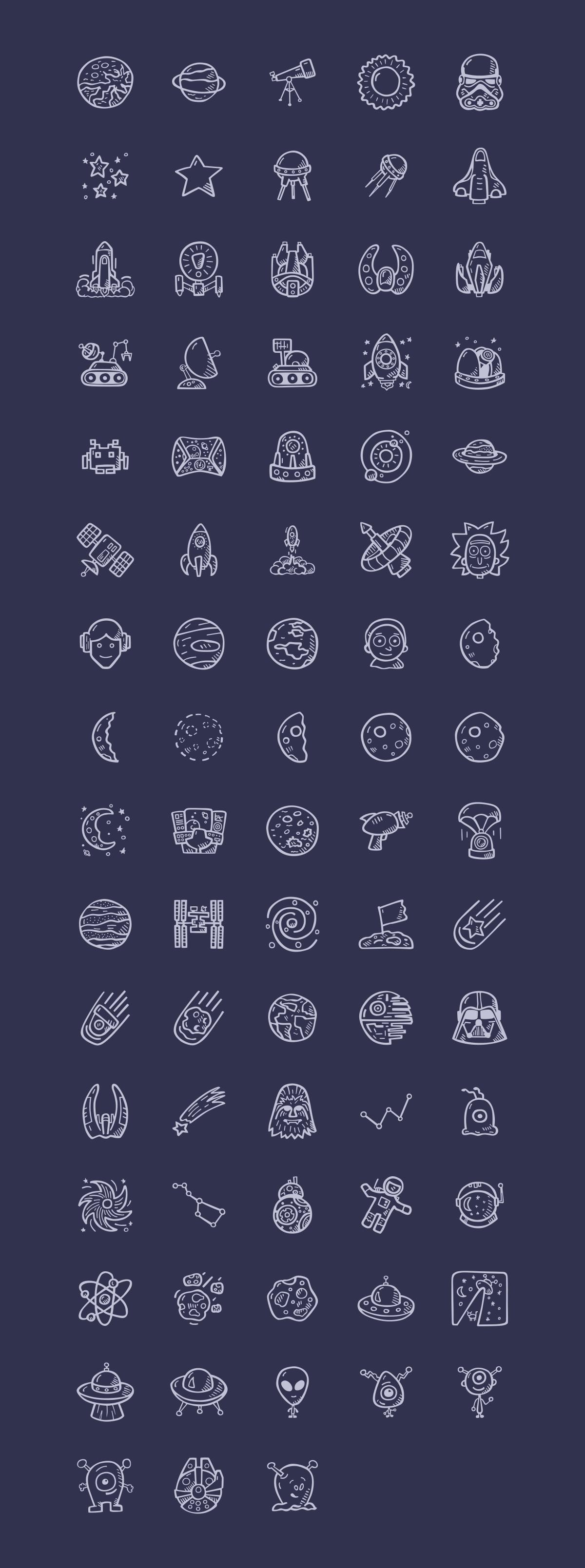 78枚手绘太空图标,SVG格式