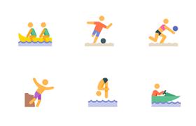 24枚水上运动图标,AI源文件