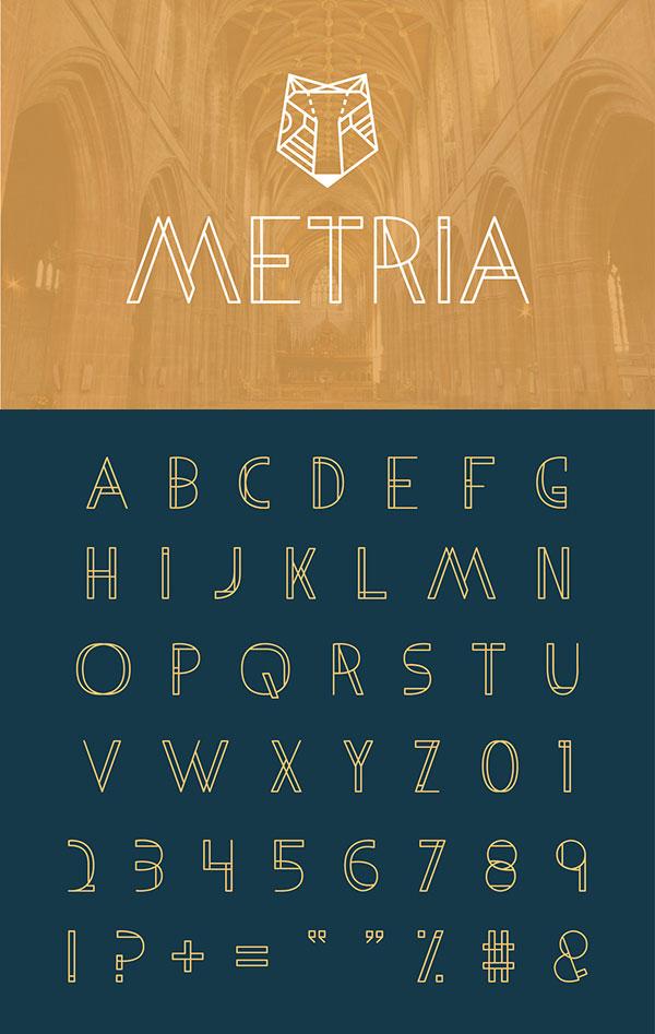 3款线框风格英文字体