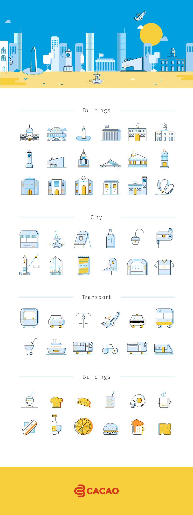 54枚阿根廷地标建筑矢量图标,AI源文件