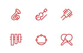 25枚线性风格乐器图标,AI源文件