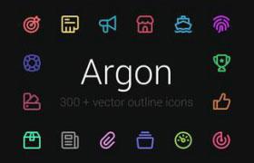 300+实用线性图标,SVG Sketch源文件