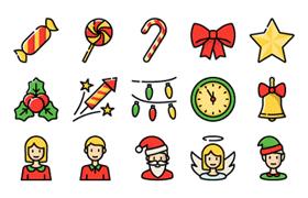 60枚圣诞新年主题图标,AI sketch源文件