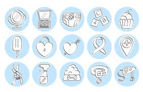 20枚手绘生活矢量图标,AI源文件