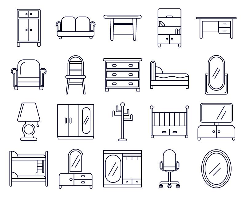20枚橱柜家具图标,AI源文件