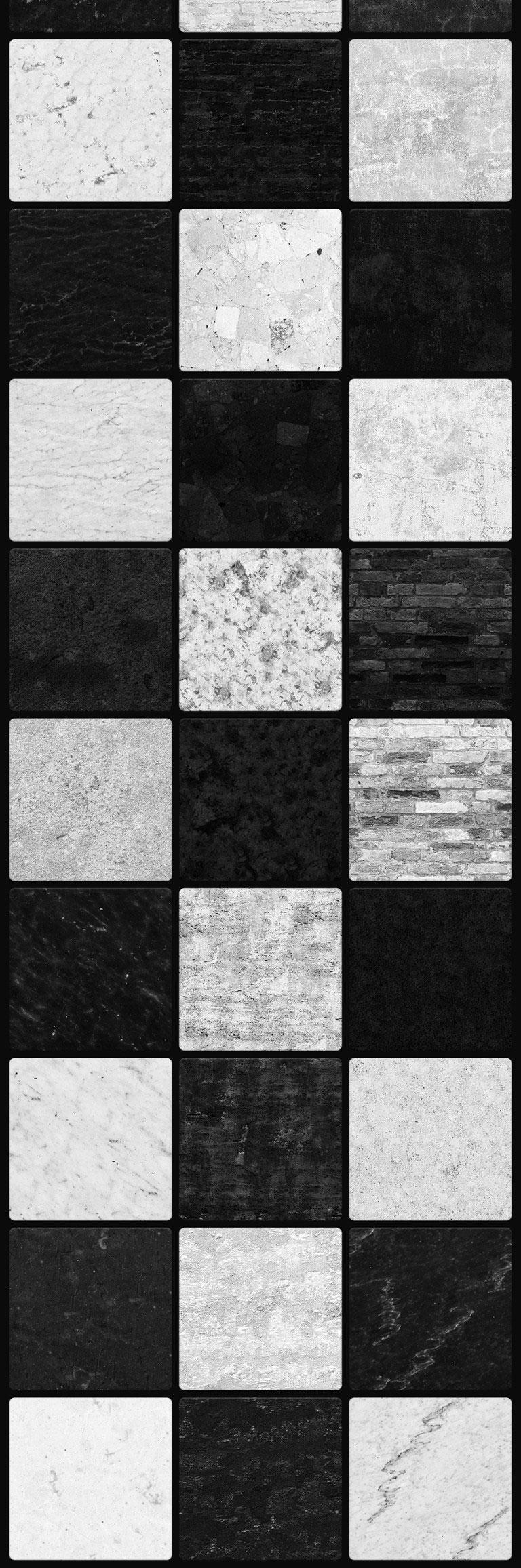 48款黑白砖墙无缝纹理