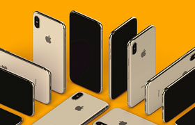 iPhoneXS Max多角度高清模板,PSD格式