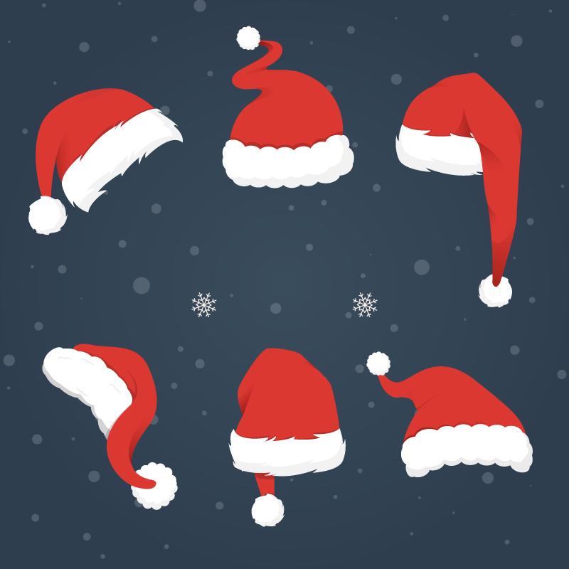 6款圣诞帽矢量素材,AI源文件