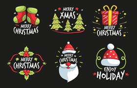 圣诞元素手绘标识,AI源文件