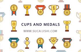 20枚奖杯奖牌图标,AI格式