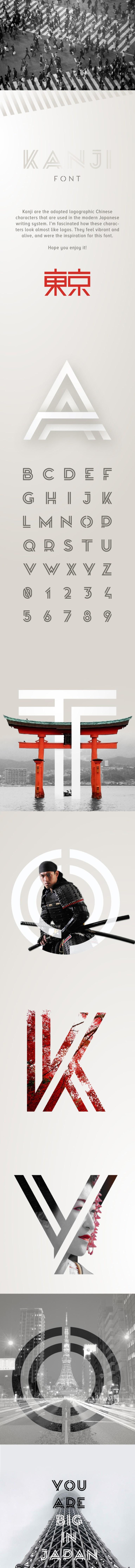 Kanji 双线复古英文字体