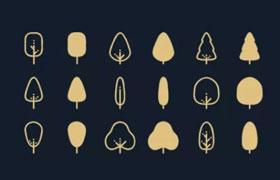 14枚线性树木矢量图标,AI格式