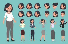 职业女性卡通形象,AI源文件