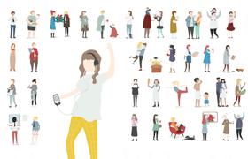 100+家庭女性扁平化形象,AI源文件