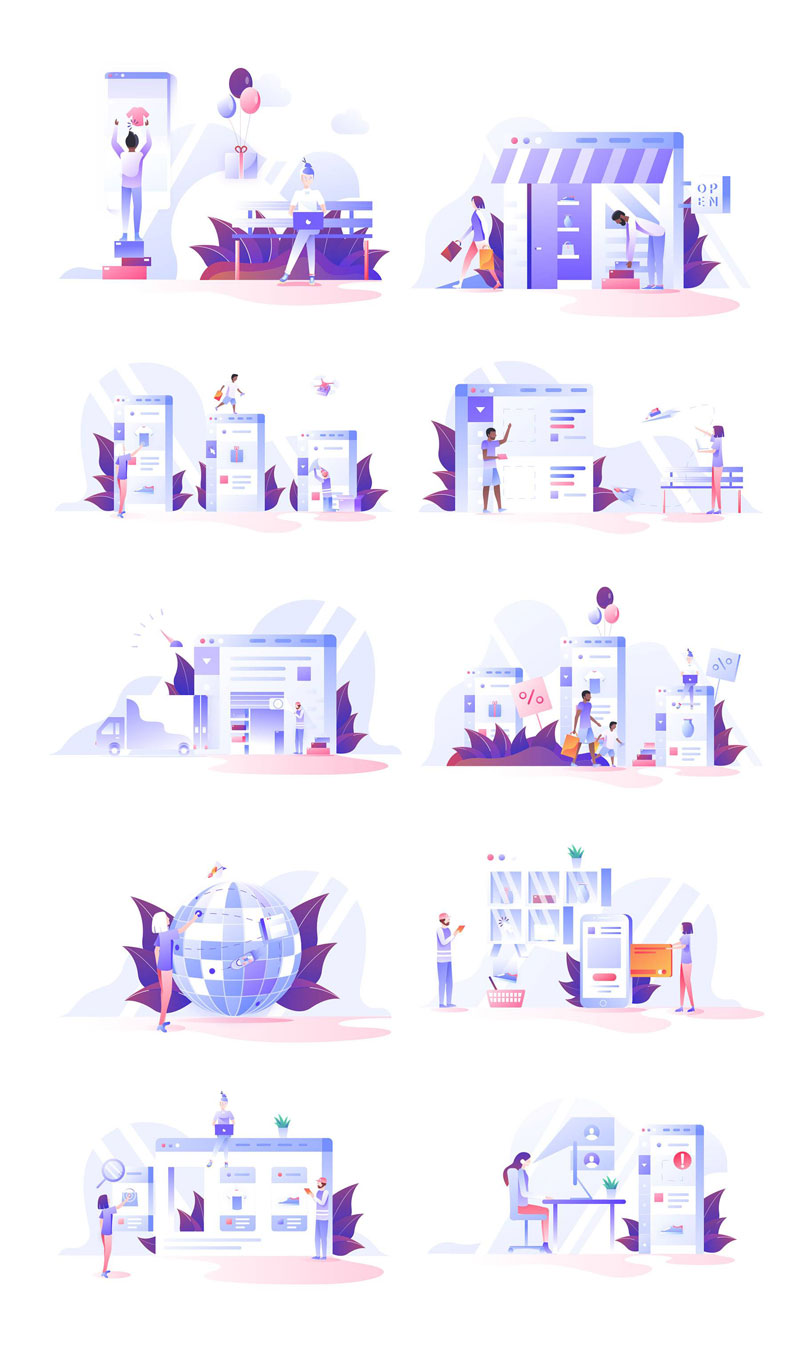 10幅扁平化场景插画 AI sketch源文件