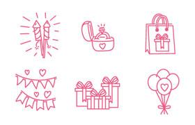 13枚婚庆手绘图标,AI源文件