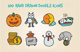 100枚手绘涂鸦图标,PSD源文件