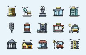 100枚城市生活图标,SVG格式