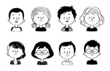 10款韩式简笔画头像,AI源文件