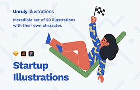 20张谷歌风格形象插图,AI Sketch Figma源文件