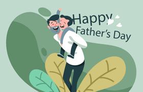 6张父亲节扁平化插图,AI源文件