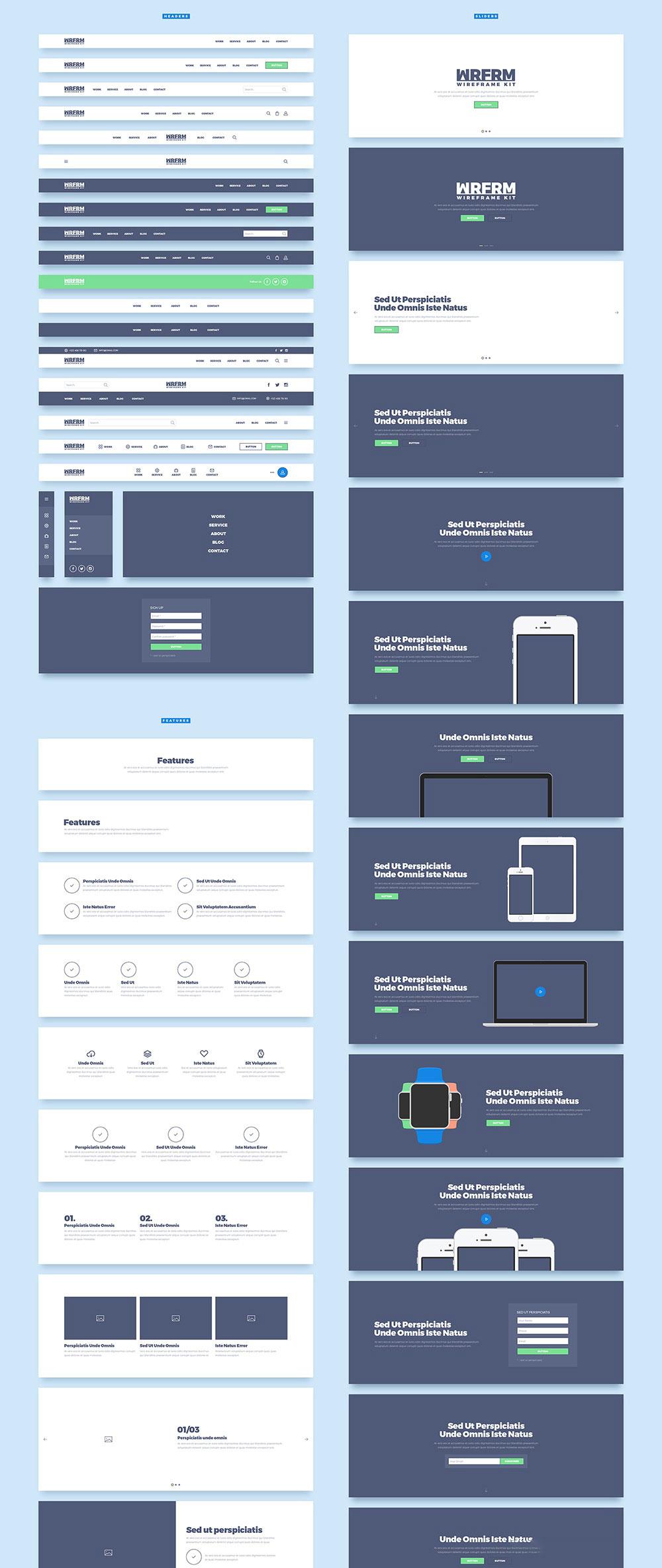 Web原型设计响应式模板,PSD源文件