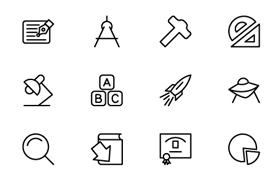 200枚教育行业图标,AI PSD源文件