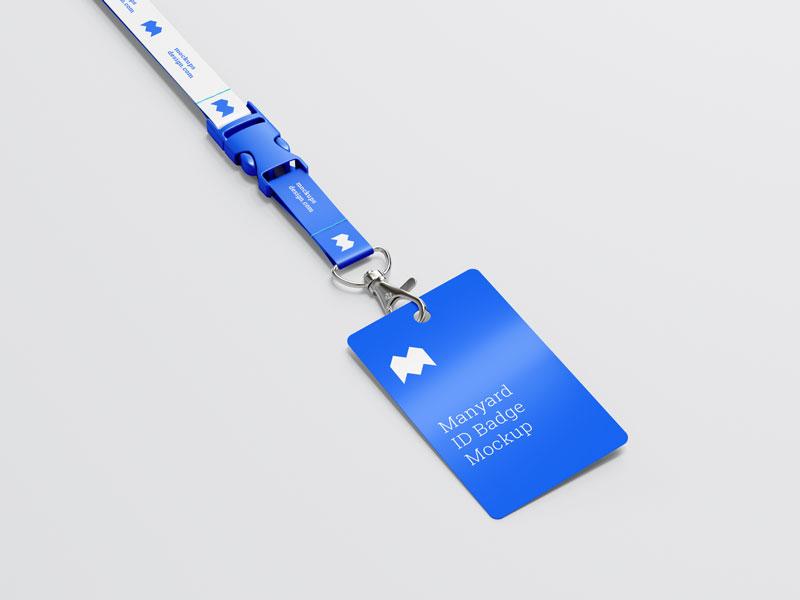 蓝色工牌样机模板