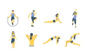 14枚健身瑜伽图标,AI源文件