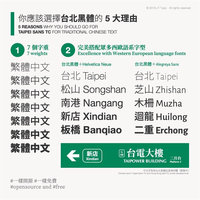 台北黑体,免版权繁体中文字体