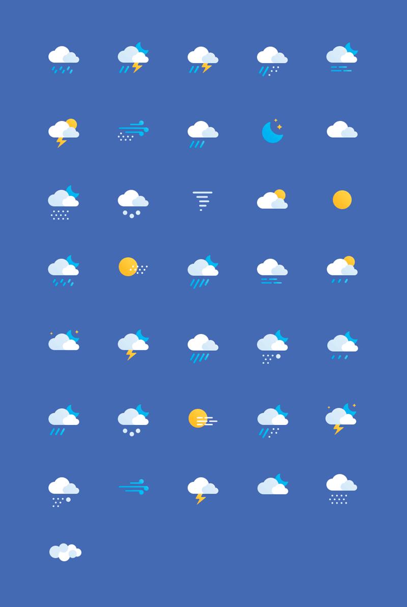 36枚扁平天气图标,PSD源文件