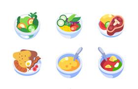 9枚彩色美食图标,AI源文件