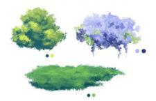 3种花草水彩画效果Photoshop笔刷