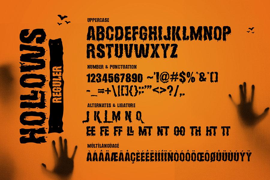 Hollows 万圣节英文字体,个人可商用