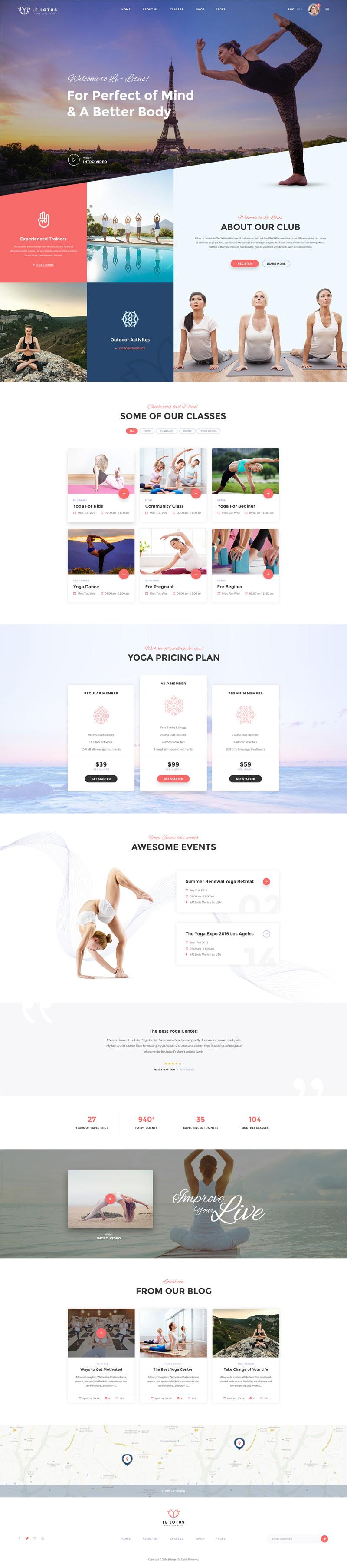 生活瑜伽馆门户网站模板,PSD源文件