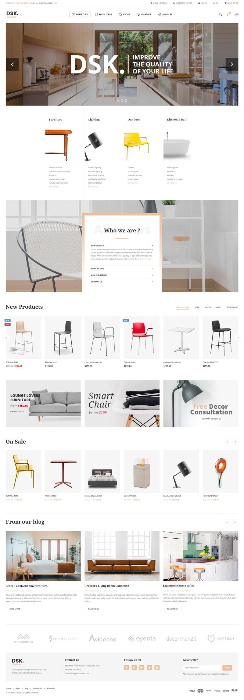 现代极简家具商城模板,PSD源文件