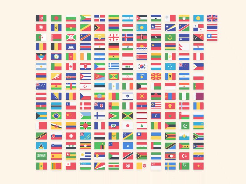 195枚世界各国国旗图标,PNG PSD格式