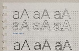 手写字体草图样式,PSD格式