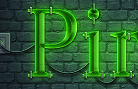 写实霓虹灯效果PS样式,PSD源文件