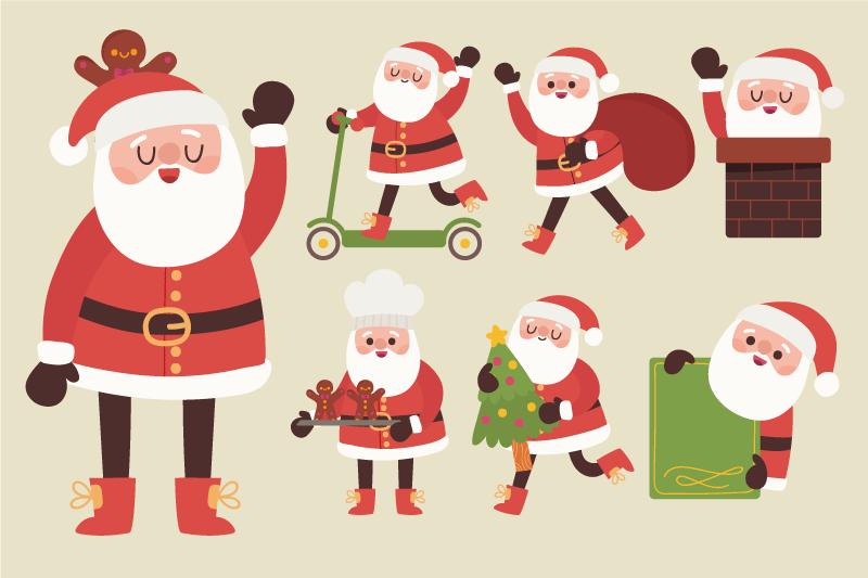 8套圣诞老人卡通形象矢量素材,AI源文件