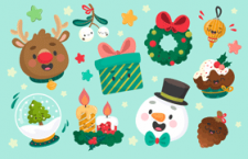 3张圣诞节卡通形象矢量素材,AI源文件