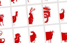 12生肖剪纸风格矢量素材,AI源文件