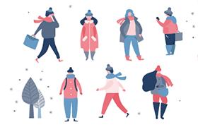 冬装文艺小清新人物形象插图,AI源文件