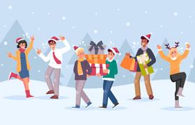 圣诞节Party聚会活动插图,AI源文件