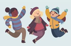 三位可爱小女孩插图,AI源文件