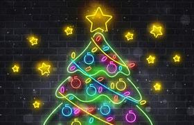 霓虹灯圣诞树,AI源文件